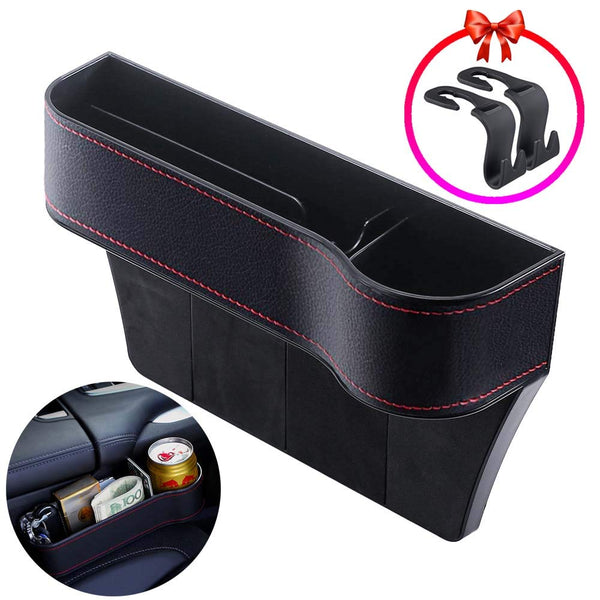 Keys Sunglasses Seat Console Side Pocket with 2 Hooks for Cellphones Cards Wallets WonVon Car Seat Gap Organizer,2 Pack PU Leather Car Seat Filler with Cup Holder