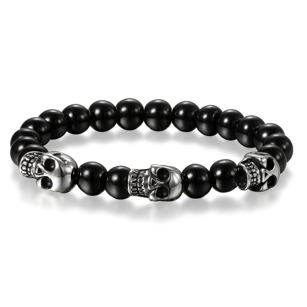 Stainless SteelSkull Bracelet, Cupimatch Mens Skull Bracelet 8mm Buddha Black Beads Stretch Gothic Jewelry
