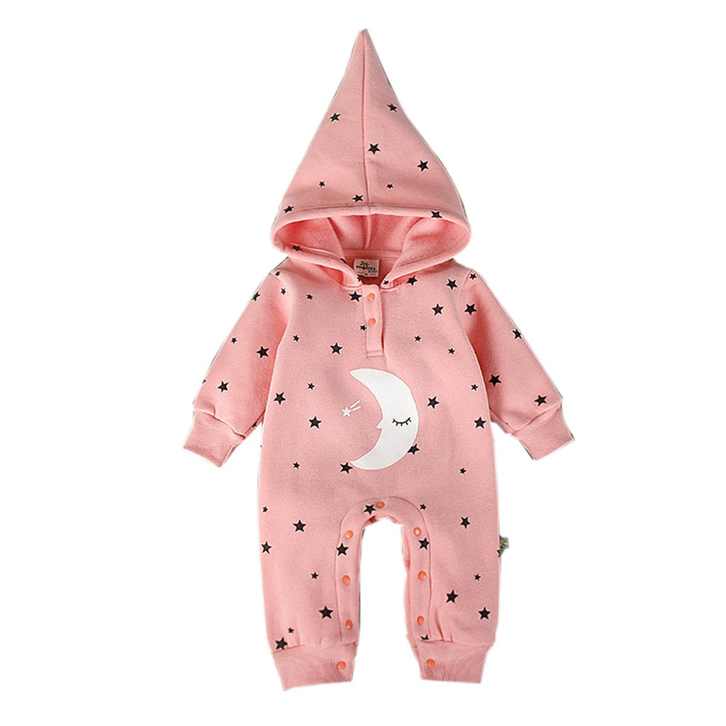Bebone Baby Girls Star Moon Hood Cartoon Fleece Romper
