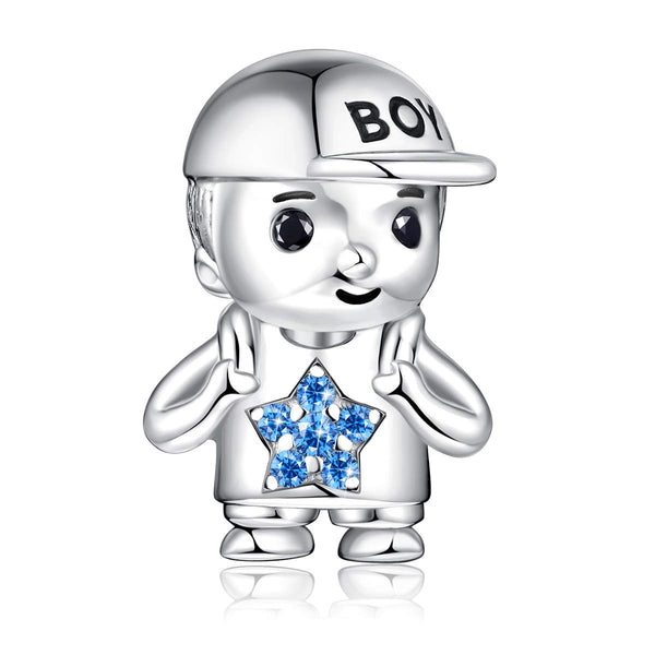 FOREVER QUEEN Little Boy Charms fit Charms Bracelet 925 Sterling Silver Little Boy Bead Charms for Bracelet and Necklace Mother's Day Gift With Jewellery Box