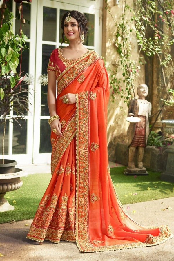 Silk Orange Saree Heavy Embroidery Zari Thread & Coding Work with Embroidery Blouse