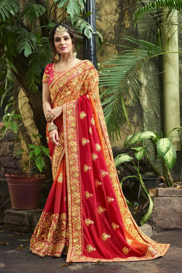 Silk Red&Orange Saree Heavy Embroidery Zari Thread & Coding Work with Embroidery Blouse