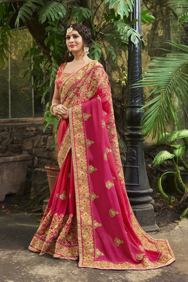 Silk Pink Saree Heavy Embroidery Zari Thread & Coding Work with Embroidery Blouse