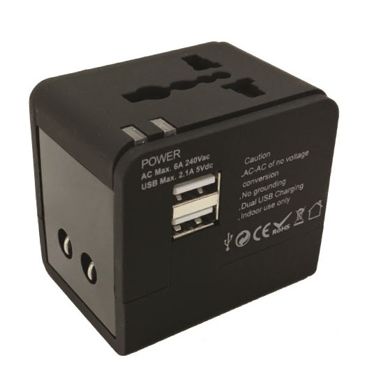 Eklasse Universal Travel Adapter With 2xUSB 5V/2.1A Black EKTA2U03XM