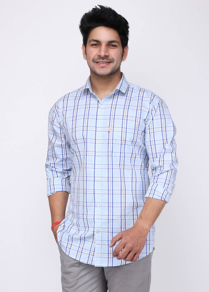 Aala Trendzone Cotton Full Sleeve Checked Casual Shirt For Men (Sky Blue)