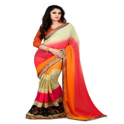 Rock-Fashion Multi Colour Weightless Printed Work Saree