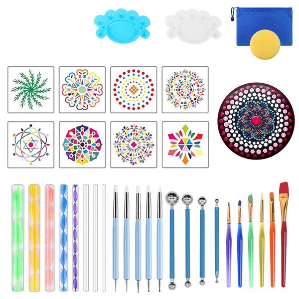 Mandala Dotting Tools Set,Painting Tool Kits Brushes Paint Tray for Painting Rocks Coloring Drawing and Drafting Art Supplies(35PCS)