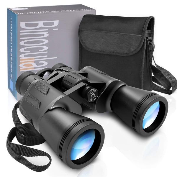 Zaeel Zoom Binoculars 12×50, HD Binoculars Large Eyepiece Compact Telescope Waterproof with Multilayer coated Lenses, High Power Magnification with Carrying Case, Lens Caps, Strap and Cloth