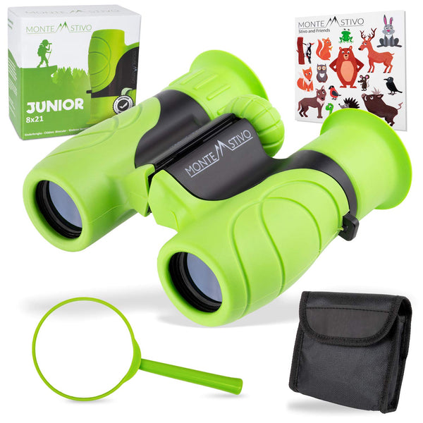 Monte Stivo ® Junior | Food-grade Kids Binoculars 8X21 | Light & compact children gift set for young discoverers aged 4 to 12