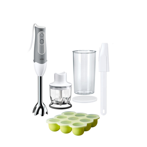 Braun MultiQuick 5 Hand Blender MQ523 Baby, 2 speed control, extra light, anti splash, includes 4 attachments; 500 ml chopper, silicon freezer container, BPA- free plastic beaker & spatula - White