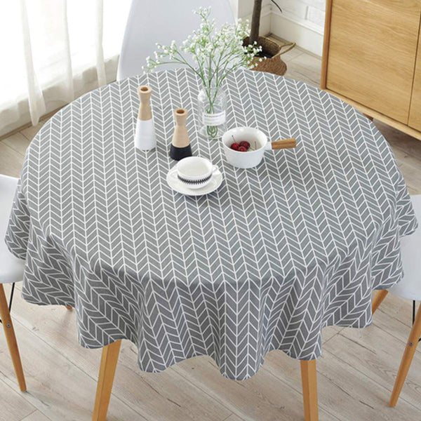 WOOPOWER Simple Nordic Style Tablecloth, Round Tablecloths for Circular Table Cover, Dust-Proof Cotton Linen Table Cover for Buffet Table, Parties, Holiday Dinner