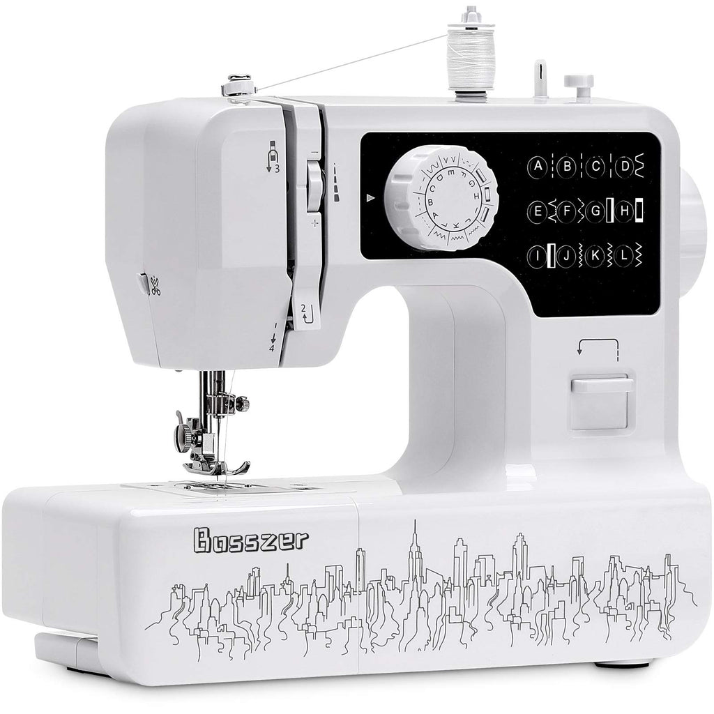 Bosszer Mini Sewing Machine for Beginners and Kids,Portable Household Small Sewing Machines, with Foot Pedal 12 built-in Stitches, 2 Speed Sewing Made Easy -Black/White