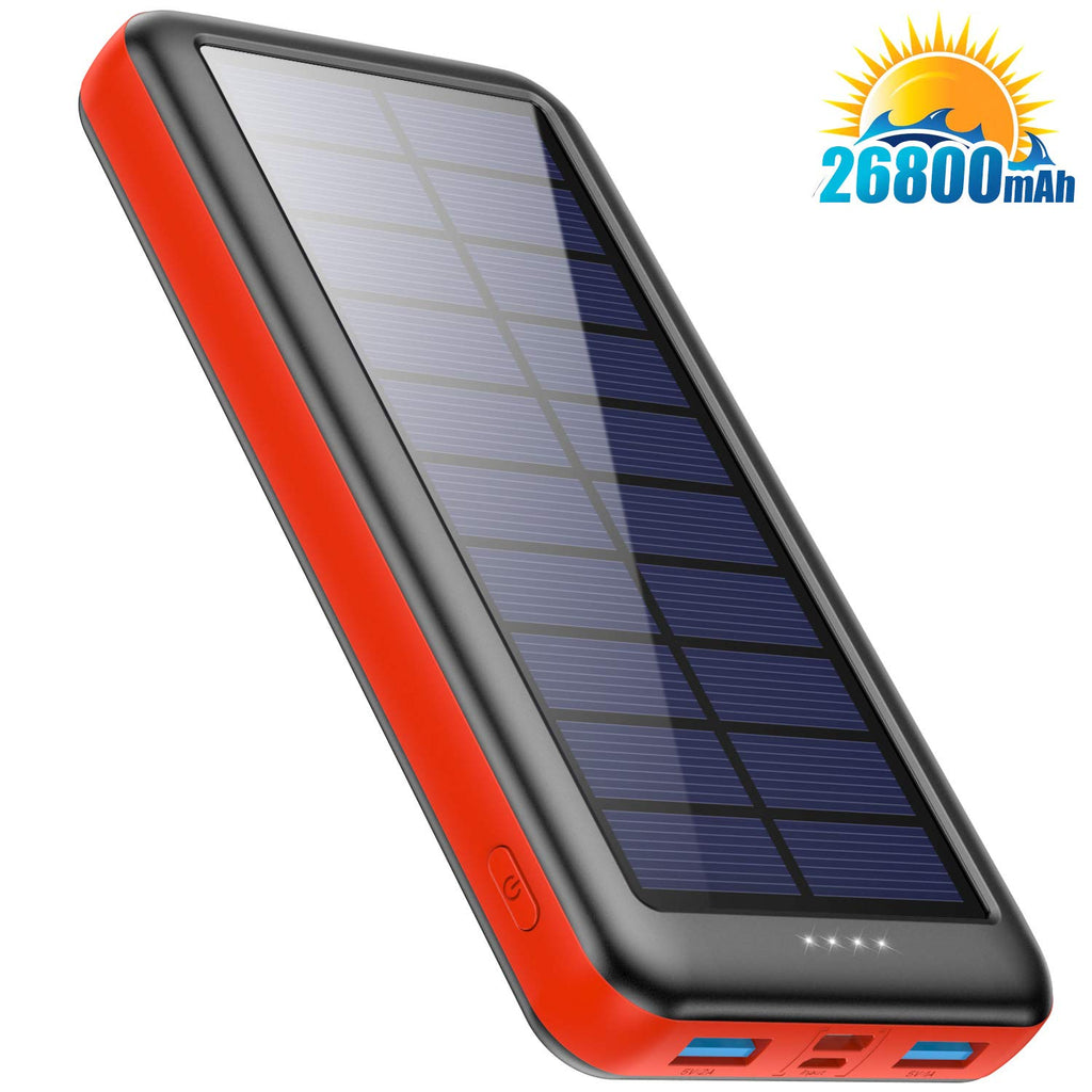 Feob Solar Power Bank 26800mAh -?Three Choice of Type-C, Micro USB or Solar Panel Inputs?- Solar Portable Charger External Backup Battery Camping Outdoor for iPhone, Samsung, Huawei and etc