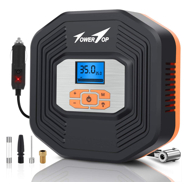 TowerTop Digital Tyre Inflator, Portable Air Compressor Pump, Car Tire Inflator with LCD Digital Display and LED Light for Car Tires, Other Inflatables