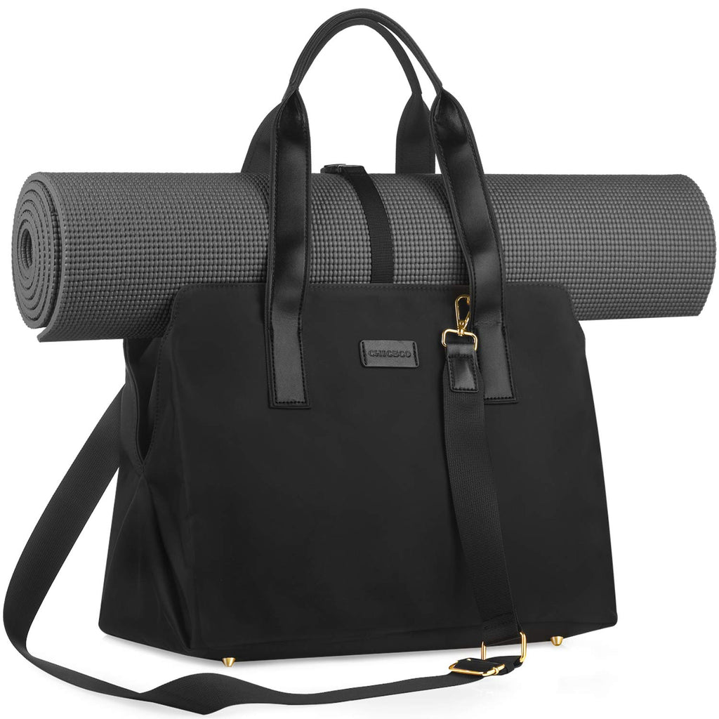 CHICECO 27L Large Gym and Work 2-IN-1 Tote Bag Yoga Carryall Duffle Bag, Black (Yoga Mat Not Included)