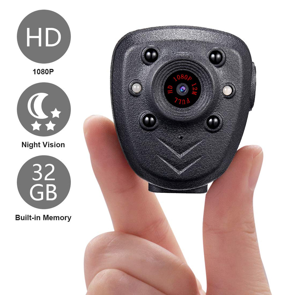 Mini Body Camera HD1080P Video Recorder Built-in 32GB Memory Card, Wearable Police Hidden Spy Cam with Night Vision, Pocket Clip for Office, Law Enforcement, Security Guard, Home, Car, Bike, Hiking