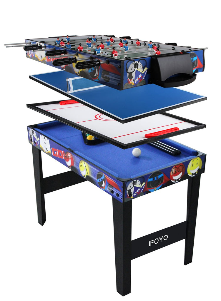 Vocheer 4 in 1 Multi Combo Game Table، Hockey Table، Foosball Table with Soccer، Pool Table، Table Tennis Table للمنزل ، غرفة الألعاب