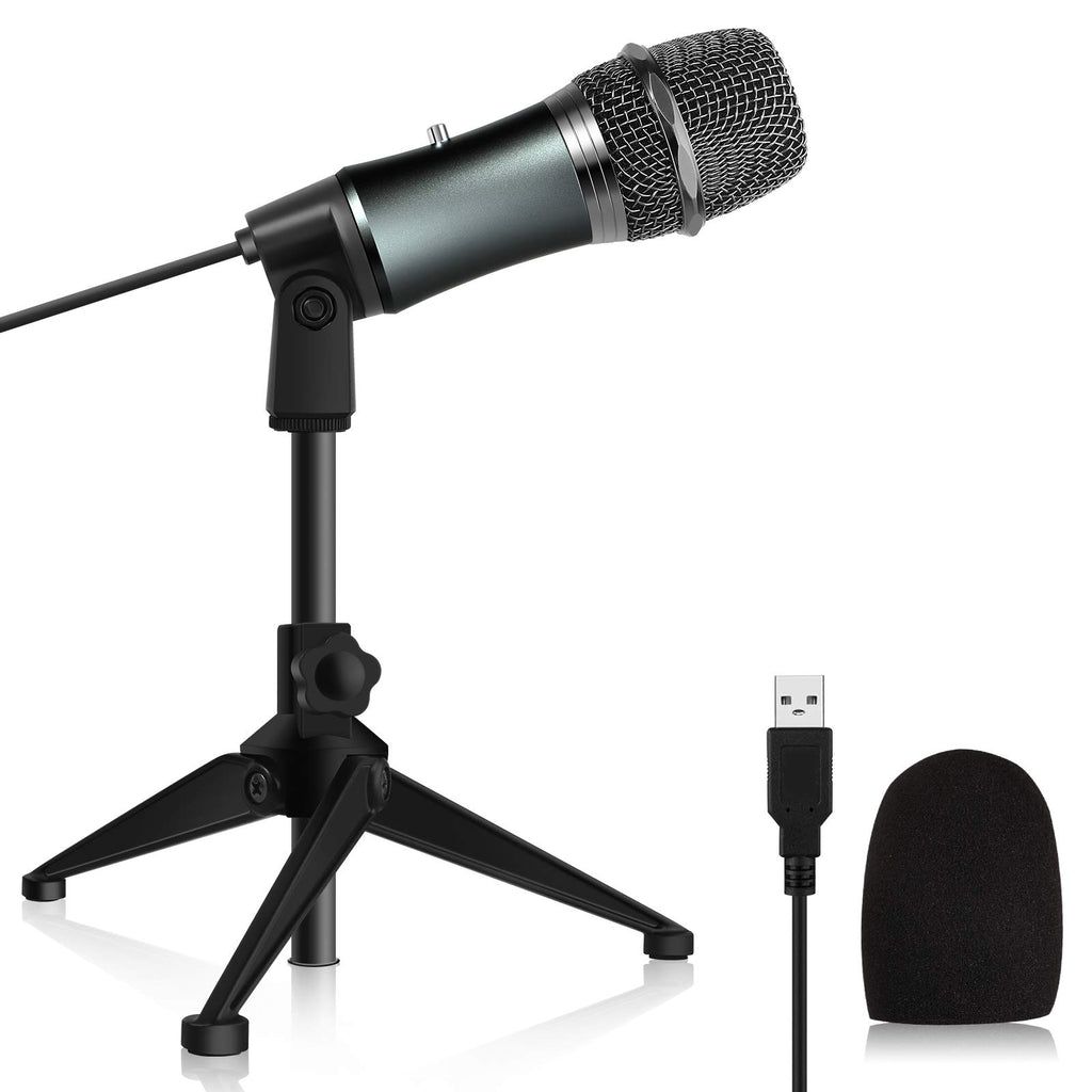 Kithouse K38C USB Computer Microphone for Computer PC Laptop Gaming Podcast Microphone, Condenser Studio Recording Microphone Desktop with Tripod for Streaming, Vocal Recording and YouTube