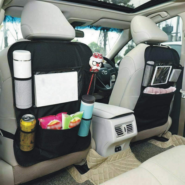 Car Organisers,Car Back Seat Organiser,Car Tablet Holder,Waterproof Backseat Cover 5 Storage Pockets,Kids Kick Mats,Seat Back Protectors with iPad Holder,Family Road Trip Travel Accessories(2pack)