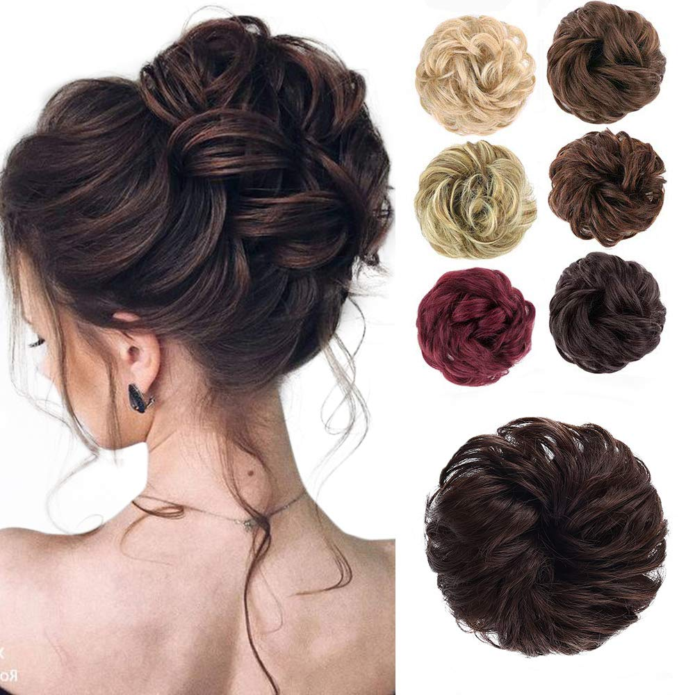 Messy Bun Hair Piece Scrunchy Hair Extensions Tousled Updo Ponytail With Synthetic Hair Elastic Rubber Band Accessories Dark Chocolate Brown