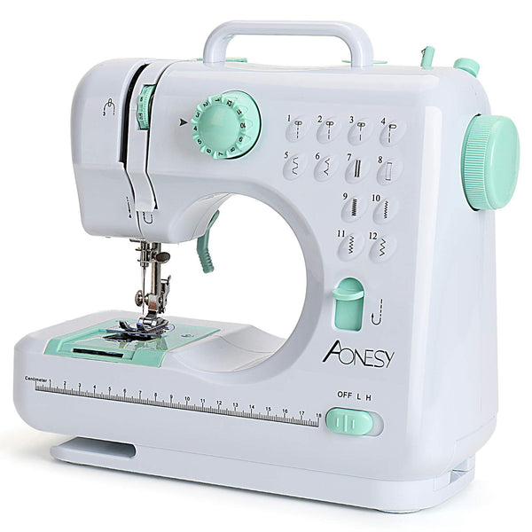 Aonesy Portable Sewing Machine, Mini Electric Household Crafting Mending Sewing Machines, 12 Stitches 2 Speed with Foot Pedal for Home Easy Sewing, Beginners, Kids