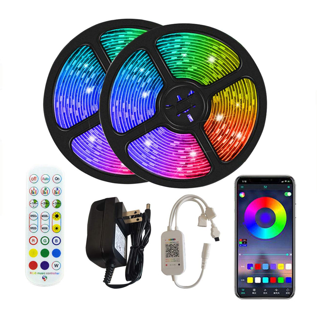 ONIVIB Led Strip Lights,10M (2 x 5M) Music Sync Color Changing Light Strip, Smart APP Controlled, 24-Keys IR Remote Controller, Flexible 5050 RGB LEDs Light Kit for Home, TV, Party, DIY Decoration