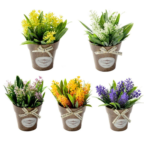 Blanketswarm 5Pcs Mini Artificial Flowers Bonsai with Plastic Pot,Fake Bonsai Plants Floral Arrangements for Home Wedding Party Office Centerpieces Decoration