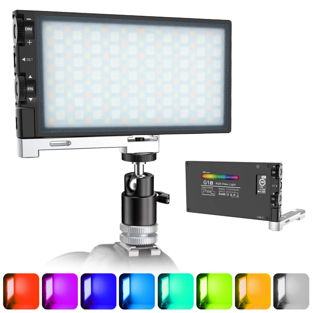 Upgraded G1s RGB Video Light, Rechargeable Built-in Battery Led Camera Light, 360° Full Color Dimmable 2500K-8500K for YouTube DSLR Camera Camcorder with 12 Common Light Effects, Aluminum Alloy Shell