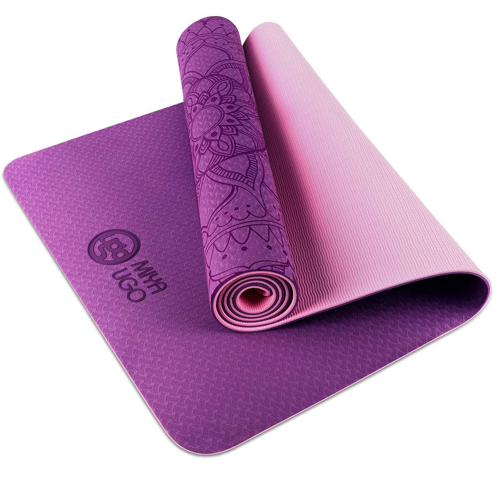 MIYA UGO Yoga Mat Eco Friendly TPE Non Slip Yoga Mats with Carrying Strap SGS Certified 72x24 Extra Thick 1//4 for Yoga Pilates Fitness Exercise Mat