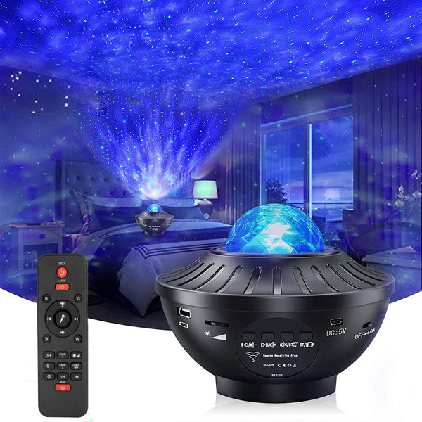 Night Light Star Projector with Timer & Remote Control, Monkey Home 2 in 1 Ocean Wave Projector for Baby Kids Bedroom/Game Rooms/Home Theatre, Built-in Music Speaker