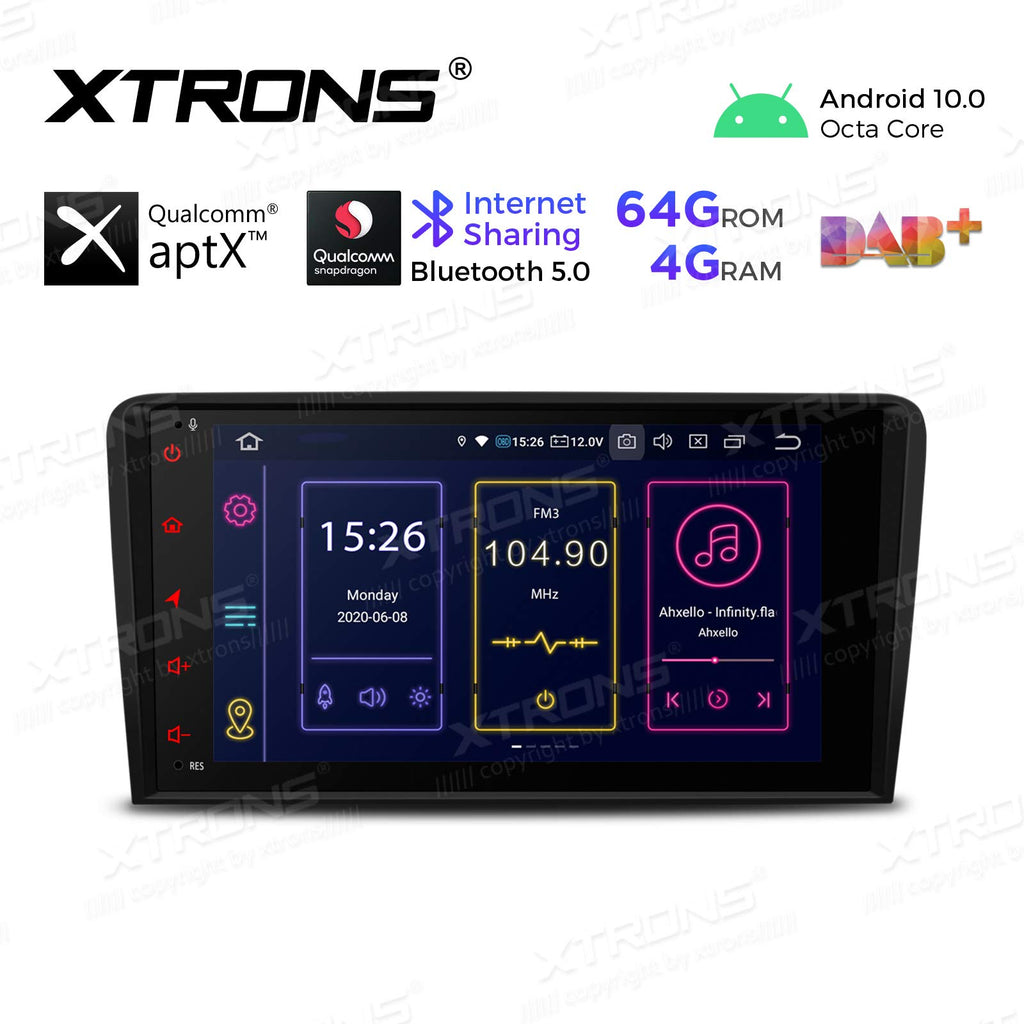 "XTRONS 8 ""Android 10 Single Din Car Stereo Qualcomm Bluetooth 4G + 64G 8-Core GPS Navigation Radio Car Radio Support WiFi 4G TPMS OBD2 DVR DAB + Backup CarAutoPlay Camera for Audi A3 S3"