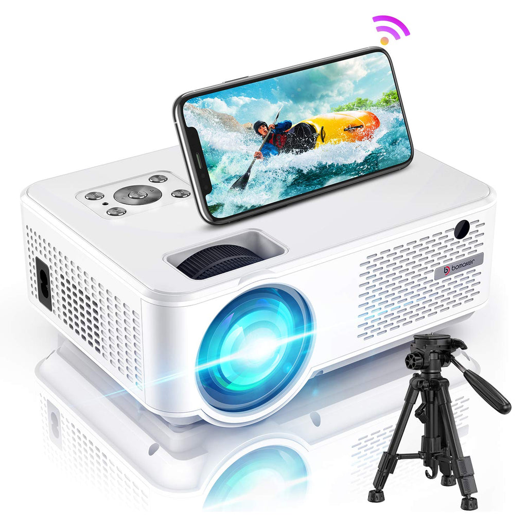 Projector Outdoor Movies, Bomaker 6500 Lux WiFi Mini Projector Ultra Portable, HD 1080P Supported, Wireless Mirroring, Compatible with TV Stick, PS4, DVD Players, iPhone, Android, Windows