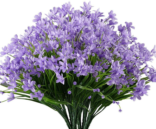 Ancokig Artificial Daffodils Flowers, 4Pack Fake Artificial Greenery UV Resistant No Fade Faux Plastic Plants for Wedding Bridle Bouquet Indoor Outdoor Home Garden Kitchen Office Table Vase (Purple)