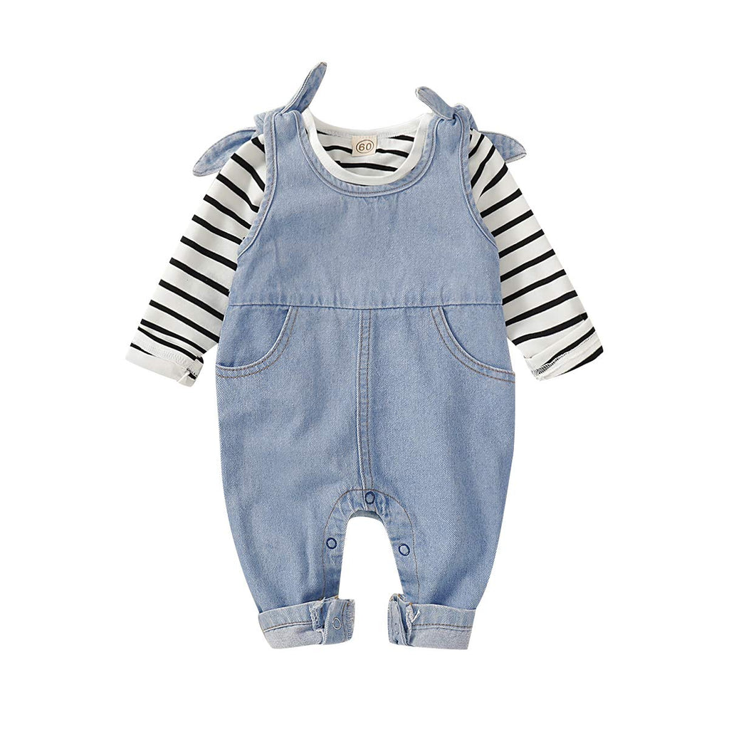 Saeaby Toddler Kids Baby Clothes Girls Jumpsuit Romper Denim Overalls Jeans Girls Clothes Outfits