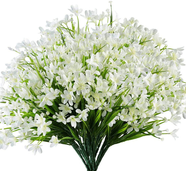 Ancokig Artificial Daffodils Flowers, 4Pack Fake Artificial Greenery UV Resistant No Fade Faux Plastic Plants for Wedding Bridle Bouquet Indoor Outdoor Home Garden Kitchen Office Table Vase (White)