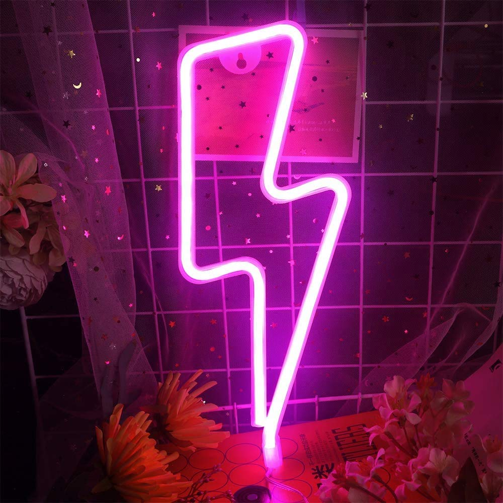 LCF Neon Signs Led Romantic Art Decorative Neon Lights Wall Decor for Christmas Gift Studio Party Kids Room Living Room Wedding Party Decoration (Lightning، Pink)