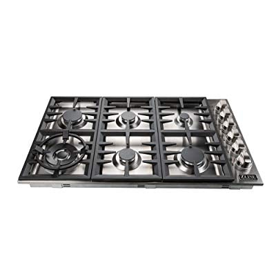 "Happybuy 34""X20"" Built-In Gas Cooktop 5 Burners LPG/NG Gas Stove Cooktop Stainless Steel Cooktop Gas Hob With Liquid Propane Conversion Kit Thermocouple Protection & Easy To Clean"