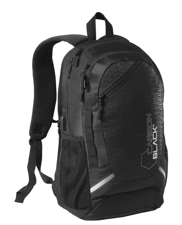 CarbonBlack Recycled Sports School Backpack, USB Charger Port, Laptop Pocket, Water Resistant Travel Rucksack Made from Recycled Plastic Bottles