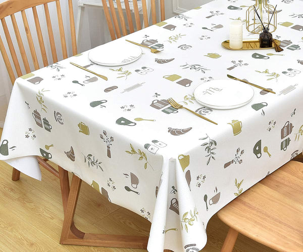 Yofori Table Cloth Plastic Tablecloth Wipeable PVC Wipe Clean WaterProof Table Cover (137x250cm, Life theme)