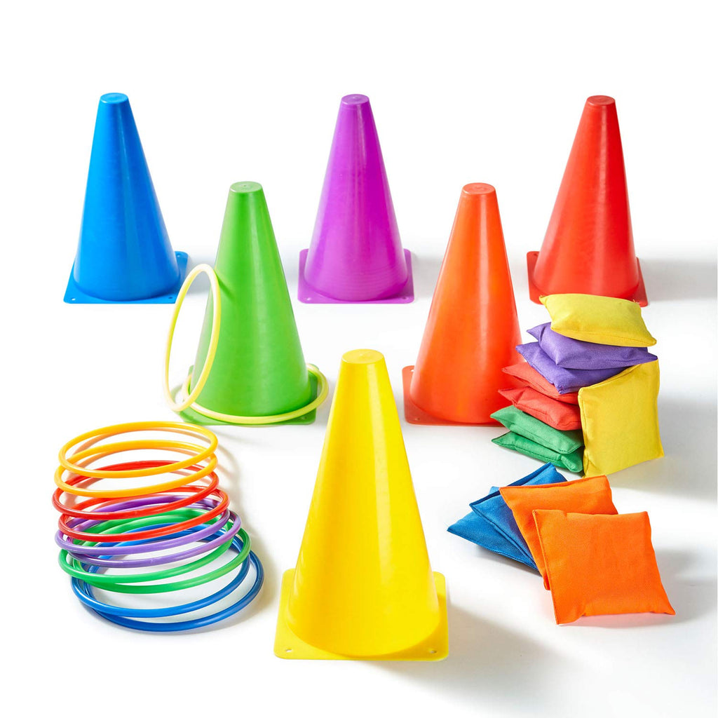 Paochocky 30 Pcs 3 in 1 Funny Activity Game Set - Six colors Throwing Ring toss and Bean Bags to Soft Cones Family Games…