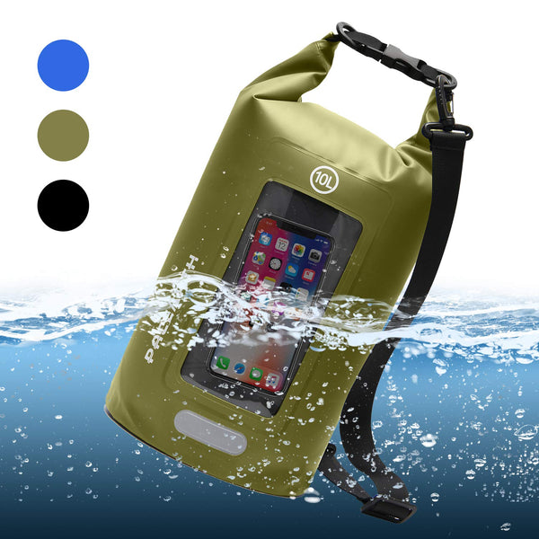 PACEARTH Double-layer Waterproof Dry Bag with Phone Window Case - Touchscreen Cover, Roll Top Dry Compression Sack with Reflective Strip for Kayaking, Beach, Rafting, Boating, Hiking, Camping, Fishing