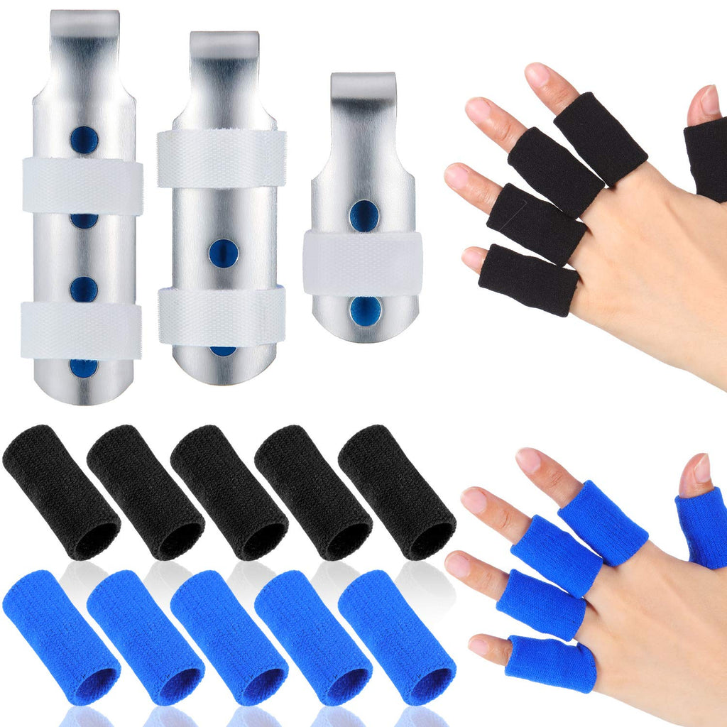 3 Pieces Finger Splints Metal Finger Support Finger Stabilizer in 3 Sizes and 20 Pieces Finger Sleeves Protectors Thumb Brace Support Elastic Compression Protector for Sports