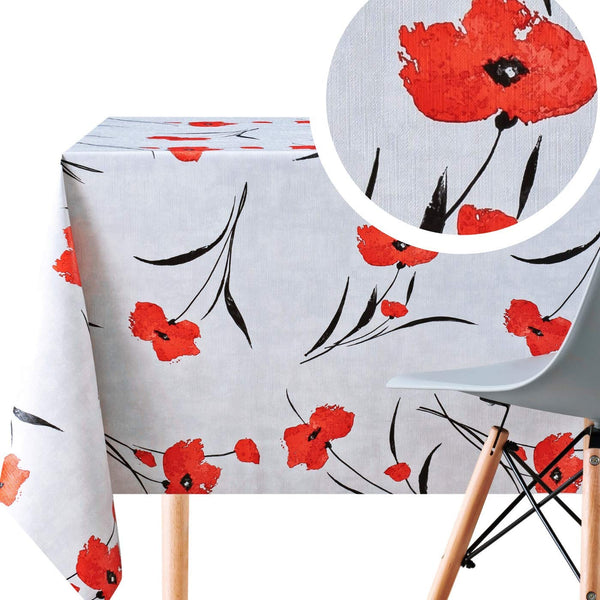 Wipe Clean Tablecloth In Light Grey With Red Poppies PVC Table Cover - Rectangle 200 x 140 cm - Wipeable Vinyl Plastic Table Cloth With Floral Blossom Poppy Print