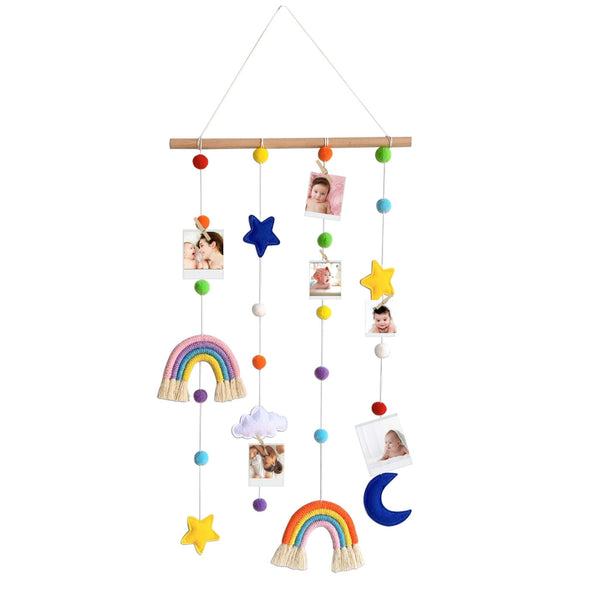 Hanging Photo Display with Pom Pom Rainbow Decoration Cute Wall Haing Picture Organizer Boho Home Decor Collage Picture Frames for Nursery Baby Kid Room Bedroom