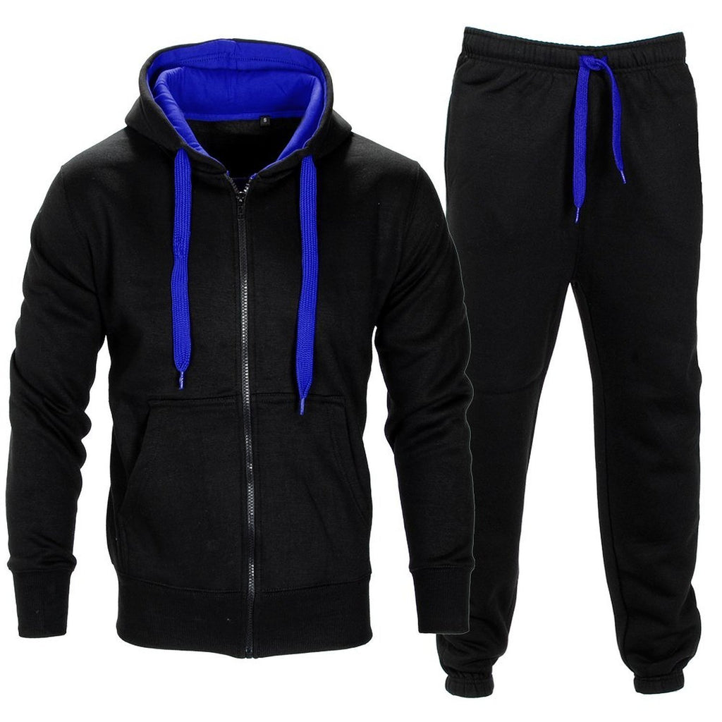 Mens Tracksuit Set Kids Contrast Cord Fleece Hoodie Top Bottoms Jogging Zip Joggers Gym Causal Exercise Running Sport Sweat Suit Pants Plus Size Large