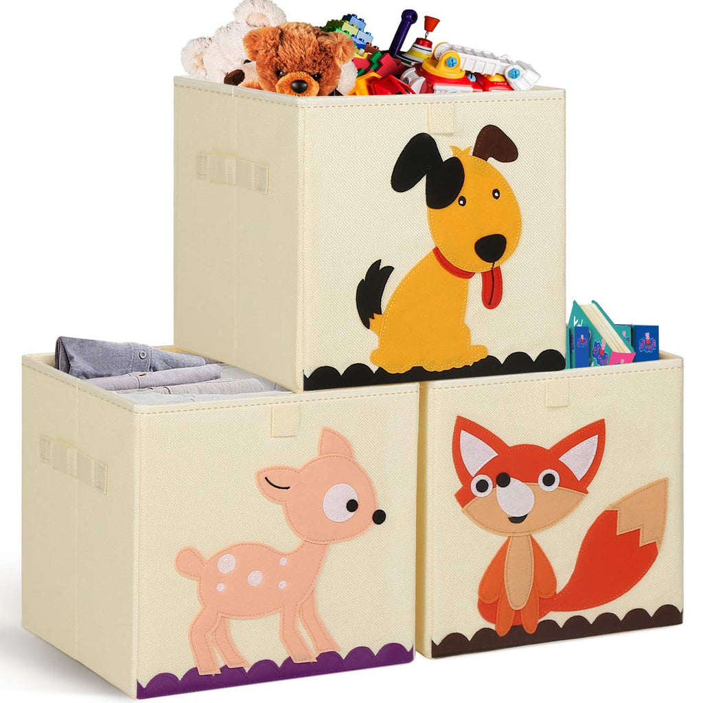 TomCare 3 Pack Storage Cubes Toys Storage Bins Kids Cube Storage Bin Storage Organizer Baskets Containers Box Foldable Fabric Cloth Toy Organizer for Baby Toddler Kids Child Fawn Dog Fox