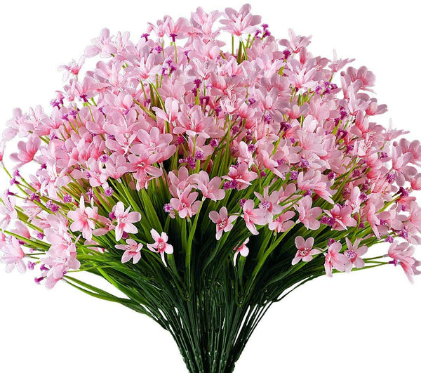 Ancokig Artificial Daffodils Flowers, 4Pack Fake Artificial Greenery UV Resistant No Fade Faux Plastic Plants for Wedding Bridle Bouquet Indoor Outdoor Home Garden Kitchen Office Table Vase (Pink)
