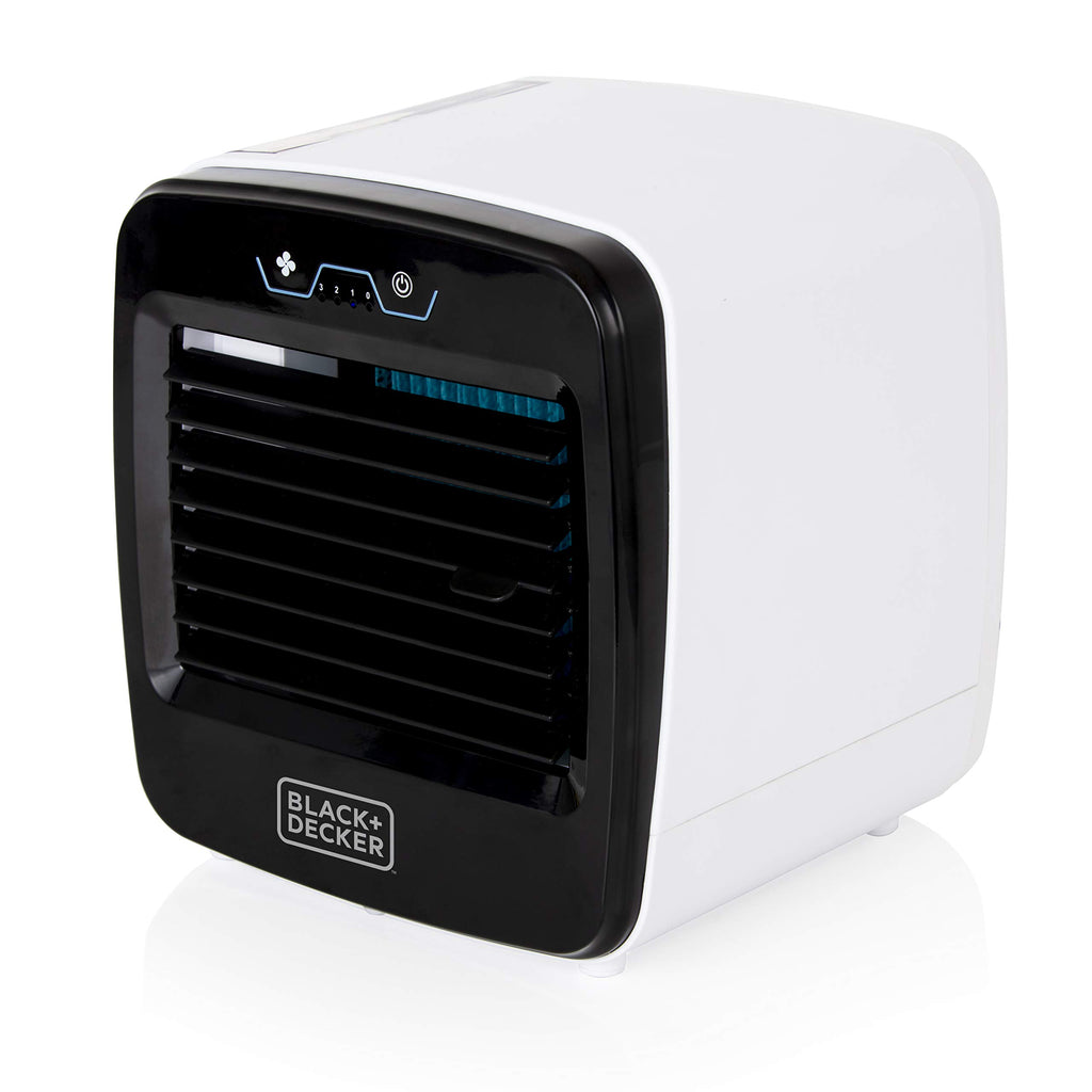 Black & Decker Personal USB Mini Air Cooler, Humidifier, Air Purifier and Cooling Fan, 3 Speed Settings and 600 ml Water Tank, Soft Touch Controls, 6 W, Black, BXAC65004GB