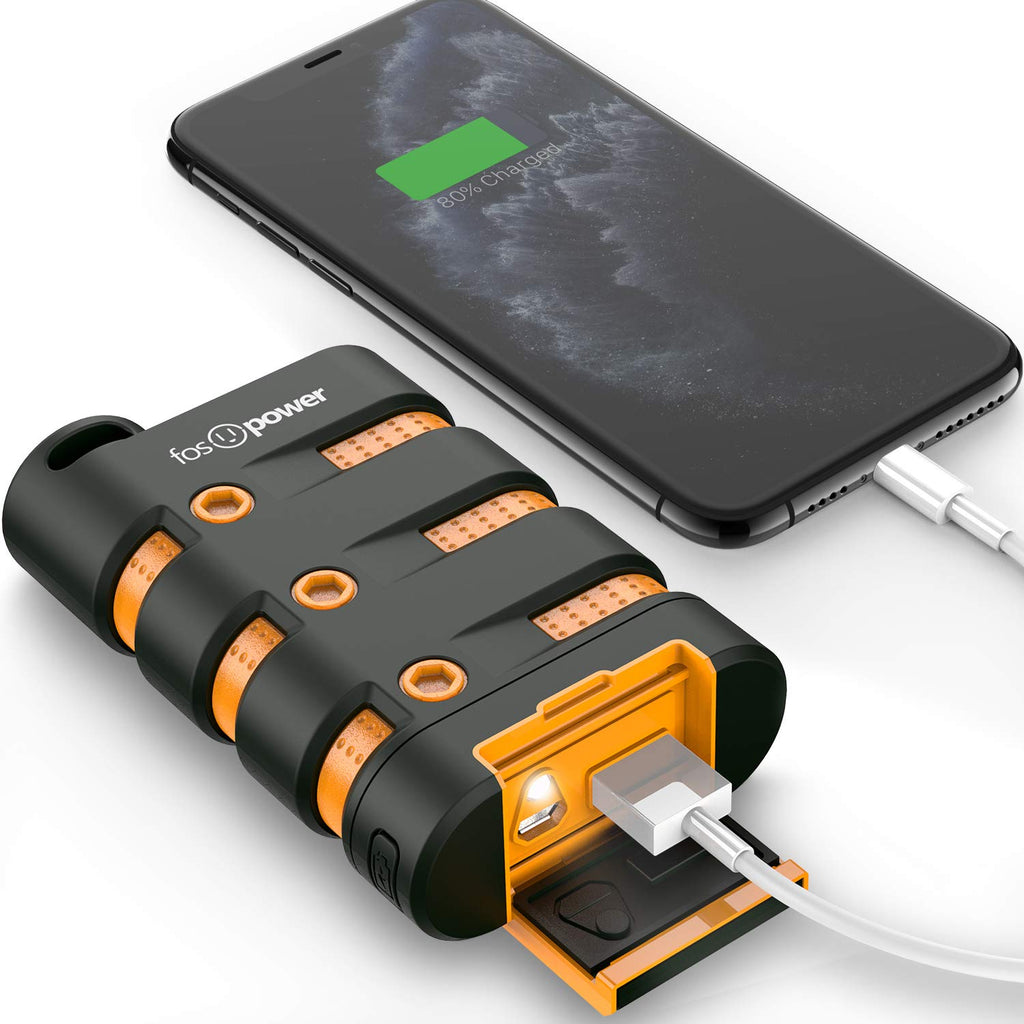 FosPower PowerActive 10200 mAh Power Banks Portable Charger - 2.1A USB Output [Water/Shock/Dust Proof] Rugged Heavy Duty Portable Battery for iPhone 11 SE (2020), iPad, Galaxy S20, Tablets & MP3