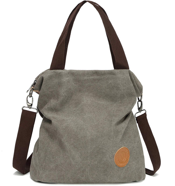 Canvas Handbag Shoulder Bag Women-Vintage Hobo Top Handle Shopping Crossbody Bag Tote Casual Beach Multifunction Bags for Ladies Women(Gray)